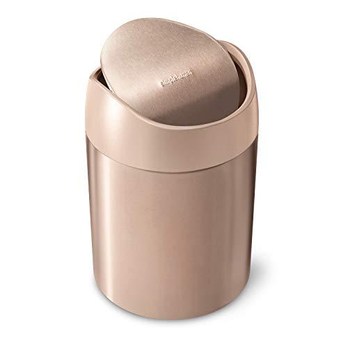 simplehuman cRectangular Rectangular Step Liner Pocket Trash Can, Rose Gold Stainless Steel