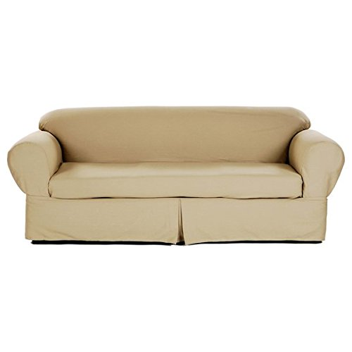 Two Piece Vibrant Khaki Home Decor Slipcover, Relaxed Fit So