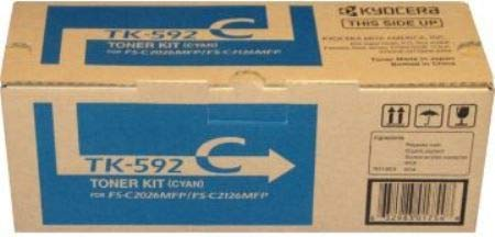 Kyocera 1T02KVCUS0 Model TK-592C Toner Cartridge, Genuine Kyocera, Page Yield up to 5000 Pages, Cyan