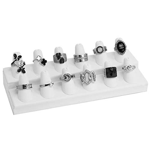 Mooca 2 Step Ring Organizer, for Showcase Display Drawer 12 Ring Storage Jewelry Display Stands Showcase Jewelry Storage Counter, White Faux Leather