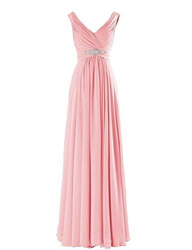 WeiYin Women's Chiffon V-Neck Long Prom Dresses Bridesmaid Dresses Pink US 18W