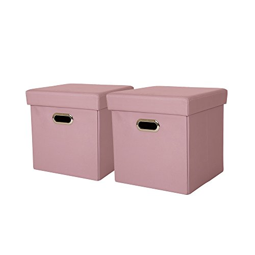 Glitzhome Foldable Oxford Storage Ottoman Cubes with Padded Seat Pastel Pink, Set of 2