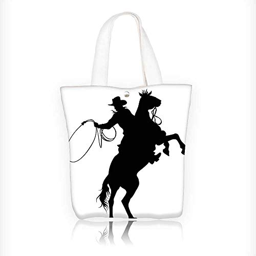 Canvas Tote Handbag Collection Cowboy and Horse Silhouette Man with Hat Shadow Texas Rural Image Print Shoulder Bag Purses For Men And Women Shopping Tote W16.5xH14xD7 INCH