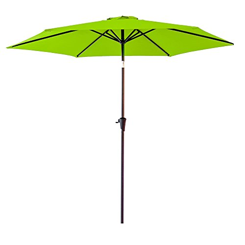FLAME&SHADE 9 Foot Round Outdoor Market Patio Umbrella with Crank Lift, Push Button Tilt, Apple Green Review