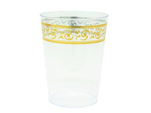 Posh Setting Clear Hard Plastic 10 oz. Tumblers (cups) with Elegant Gold Premium Design 40 Pack -