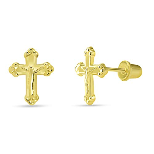 14k Yellow Gold Christian Cross Jesus Crucifix Stud Earrings with Screw ()