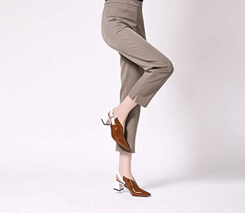 in Comodo 37 Dimensioni di Sandali Estate Ladies Colore Misto Strato Primo Pelle Colore Tallone Brown w6OtFzqO