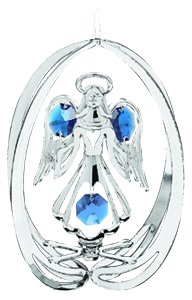 (Hanging Sun Catcher or Ornament..... Angel In Oval Shell With Blue Swarovski Austrian Crystals)
