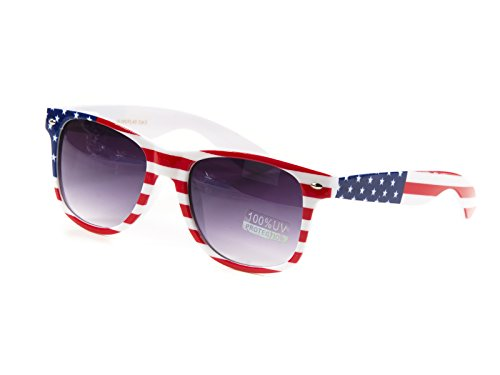 Goson Classic American USA Patriot Flag Frame/Silver Color Mirror Wayfarer 54 mm - American Frames Glasses