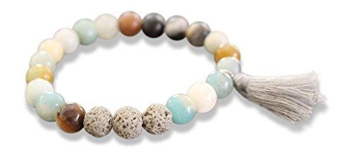 Mana Vibes Essential Oil Semi Precious Gemstone Tassel Beaded Bracelet Lava Beads, Essential Oil Jewelry 8mm Bead Size, Grey Tassel Yoga Jewelry