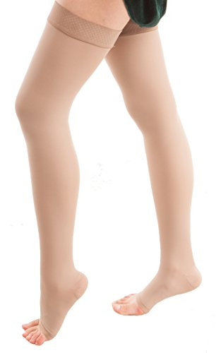 ITA-MED Open Toe Thigh Highs - Compression (25-35 mmHg): H-306 XX-Large Beige