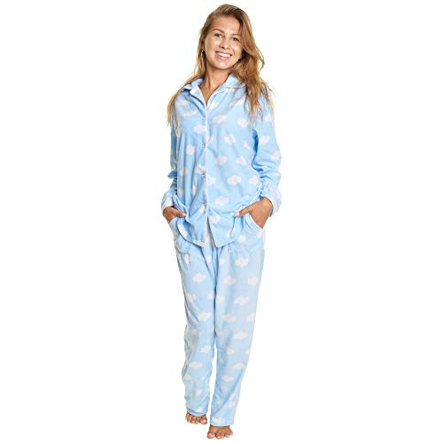 Flannel Pajamas For Women - Angelina Cozy Fleece Pajama Set #56_Clouds_L