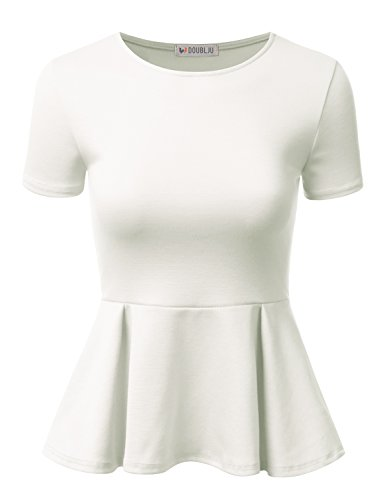 Doublju Stretchy Flare Peplum Blouse Tops for Women with Plus Size Ivory ()