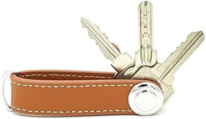 本革キーホルダーキーオーガナイザー安全ロックツール高級感本革キーリング男女兼用車家の鍵にブラウン