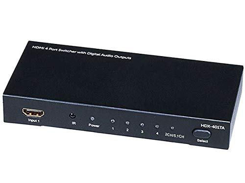Monoprice Blackbird 4x1 HDMI 1.4 Switch HDCP 1.4 with Toslink and Analog Audio Extractor, 1080p@60Hz