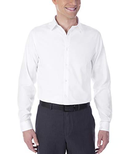 Calvin Klein Men's Dress Shirt Non Iron Solid, White, 15.5