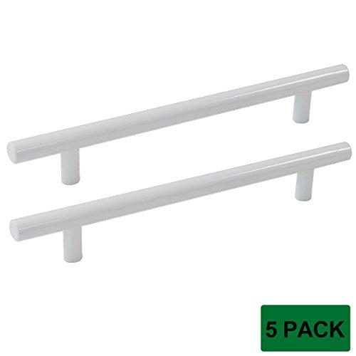 Probrico Modern Cabinet Hardware Cupboard Knob And Handle Furniture Pull White Kitchen Cabinet T Bar Knobs - 12mm Diameter - 6-1/4