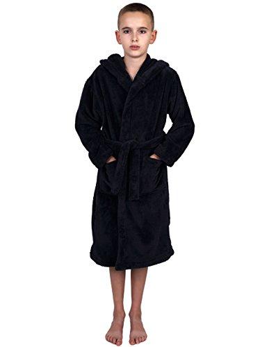 TowelSelections Big Boys' Robe, Kids Plush Hooded Fleece Bathrobe Size 10 (Boys Plush Robe)