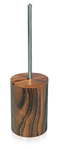 MV Acacia Natural Wood Bathroom Standing Toilet Brush Bowl Holder Cleaner Set