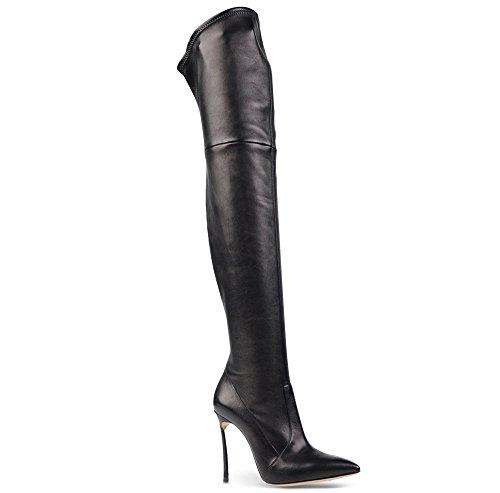 AIWEIYi Thin Ultra High Womens Heels Pointed Black Boots Toe Boots High Heels Knee Black Over wqSqxrnI1T
