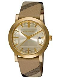 Sale! Authentic Burberry Heritage Luxury Unisex Womens Mens Gold Watch Nova Check Fabric Leather Strap Date Dial BU1398