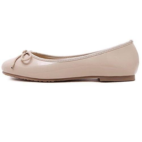 AgooLar Damen Schließen Zehe Ziehen Auf kunstleder Flache Schuhe Aprikosen Farbe+Knot