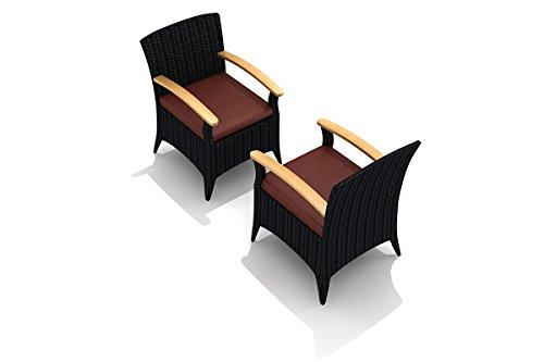 (Harmonia Living HL-AR-CB-DAC-HN Arbor Dining Arm Chair, Canvas Henna Cushion)