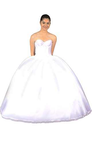 Quinceanera Petticoat of Tulle Crinoline 7 Poofy High Waisted Layers with Drawstring Waist, Soft Taffeta Lining and Cover Skirt, Cinderella Dress Fabric, Made in USA, Enhance Your Gown - Buy Now