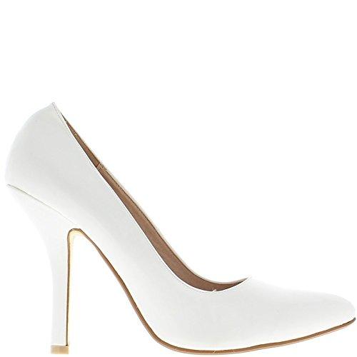 ChaussMoi Escarpins Femme Grande Taille Blancs Vernis à Talon de 12cm Bouts Pointus