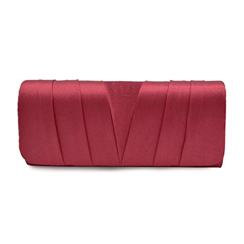 (Elegant Classic Satin Pleated Satin Flap Clutch Evening Bag Handbag,)