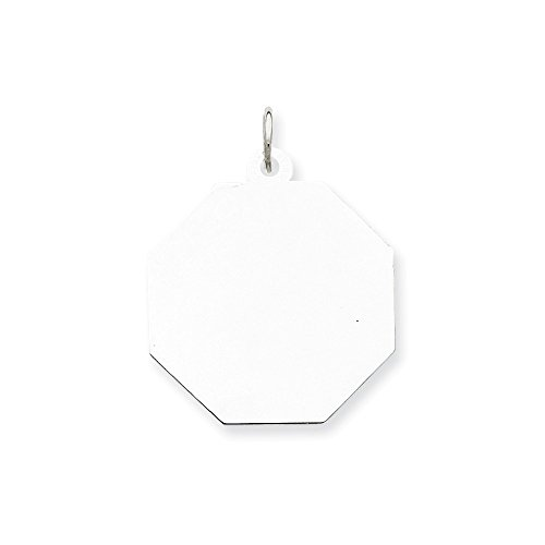 Sterling Silver Engravable Octagon Disc Charm (23 x 21mm)