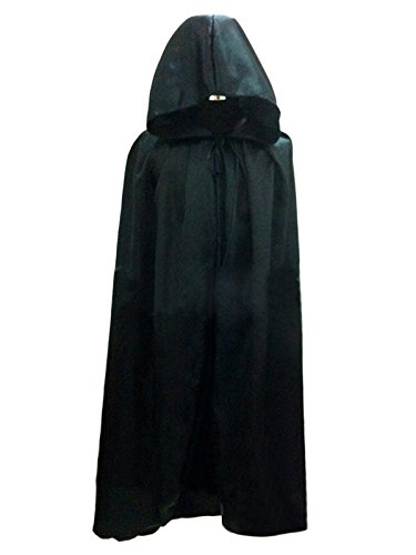 [WESTLINK Cloak with Hood Costume Hooded Cape For Men Women (43 - 66inches) Black] (Black Costumes Cape)