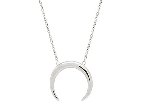 Fronay Collection Silver Rhodium Plated Omega Moon Shape Pendant 16