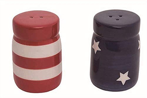 Transpac Set of Patriotic Mason Jar Salt and Pepper Shakers - Red/White/Blue