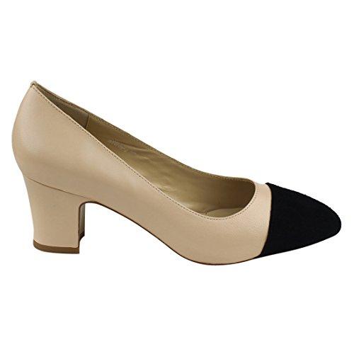 3a35742570f0 LANINI JA02 Women s Genuine Leather Two Tone Block Heel Work Shoes Dress  Pumps hot sale 2017