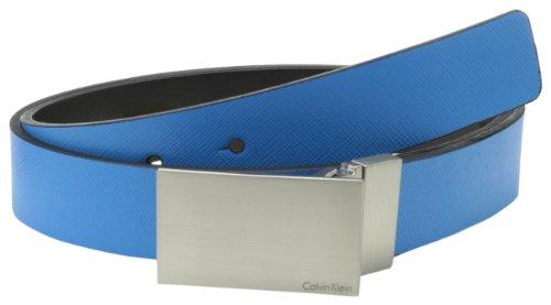 Calvin Klein Men's 32mm Reversible Flat Strap Plaque Buckle With Logo Belt, Navy/Black,36