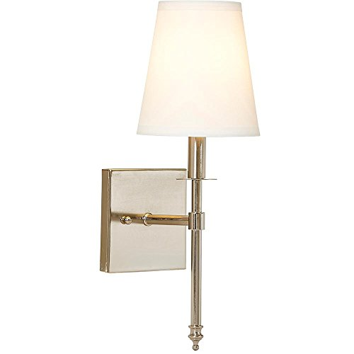 Polished Nickel Single Light - Single Traditional Wall Light With Fabric Shade   Polished Nickel Vanity Lamp Sconce With LED Bulb   Interior Lighting