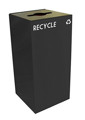 - Witt Industries 32GC04-CB GeoCube Recycling Receptacle with Combination Slot/Round Opening, Steel, 32 gal, Charcoal