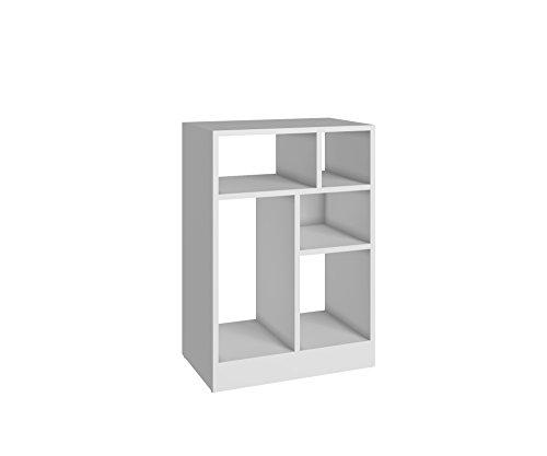 ModHaus Living Mid Century Modern White 5 Shelves Bookcase - Includes Pen