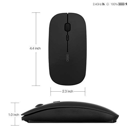 Rechargeable Wireless Mouse,inphic Mute Silent Click Mini Noiseless Optical Mice,Ultra Thin 1600 DPI for Notebook,PC,Laptop,Computer,Macbook (Magic black)