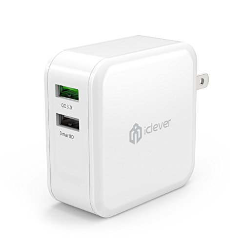 iClever BoostCube+ 24W 4.8A Dual Wall Charger with SmartID Technology, Foldable Plug, Portable Travel Adapter for...