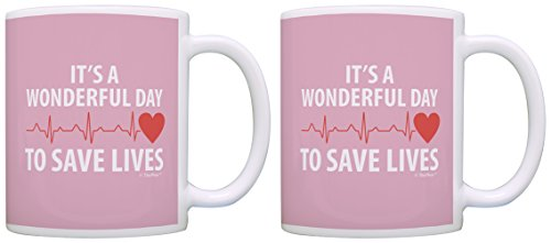 [Nurse Gifts It's a Wonderful Day to Save Lives Nurse Appreciation 2 Pack Gift Coffee Mugs Tea Cups] (Jackie Nurse Shoes)