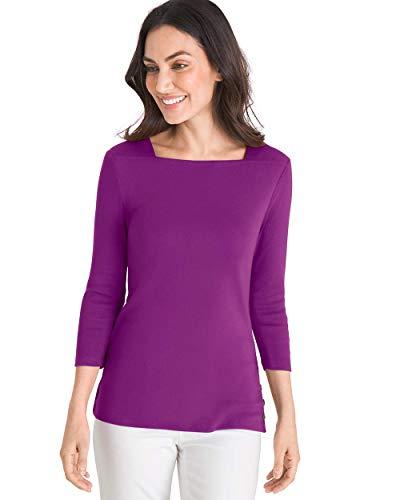 Chico's Women's Supima Cotton Side-Button Bateau-Neck Top Size