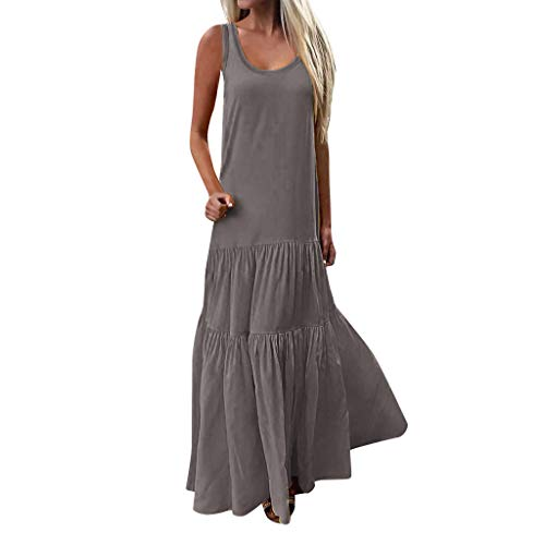 Sunhusing Women's Bohemian Casual Wind Long Maxi Dress Sleeveless Low Cut Ruffles Baggy Floor-Length Dress Gray