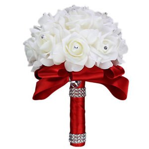 Windspeed Romantic Bride Wedding Holding Bouquet Foam Roses Artificial Flower Wedding Party Bouquet (Red)