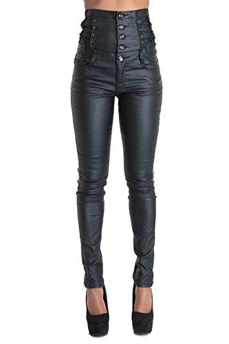 Taglia In pantaloni Vita Alta Slim jeans Colore Pelle Fit 46 Nero Look Sx7wTq6v
