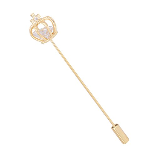 OBONNIE Sparkly Cubic Zirconia Crown Cross Lapel Stick Pin Brooch Collar Pin for Men Women Tie Hat Scarf Suit (Gold) - Cross Crown Pin