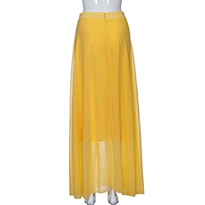 Pocciol Women Love Pleated Skirt, Ladies Chiffon Stretch Maxi Dress Skater Flared Long High Waist Skirt
