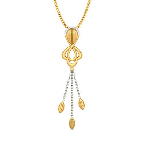 Or jaune 18 K 0,05 CT TW Round-cut-diamond (IJ | SI) Pendentif