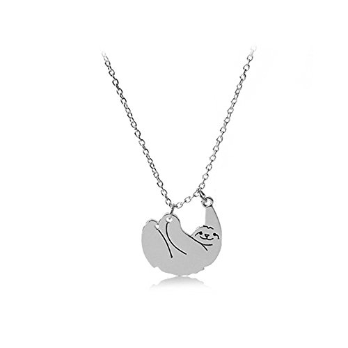 Gold Silver Sloth Charm Necklace - Stylish Cute Animal Peandant Jewelry ()